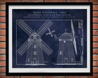 1820 Beebe Windmill Architectural Drawing - Art Print - Poster - Windmill Illustration - Architecture Decor - Suffolk County - Long Island