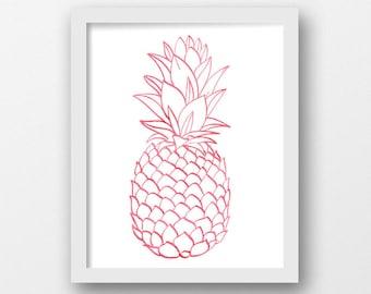 Pineapple Nursery Art, Watercolor Pineapple, Nursery Prints, Red Pineapple, Baby Gift, Baby Shower, Nursery Decor, Tropical Wall Art (1014a)