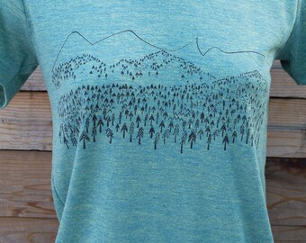 Mountains are Calling, mountain print, nature scene, screen printed on soft triple blend t shirt. outdoors design, color t lem, s,m,l,xl,xxl