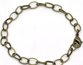 12 Bronze Link Chain Bracelets Perfect Base for Jewelry Creations Hammered Links  - N030