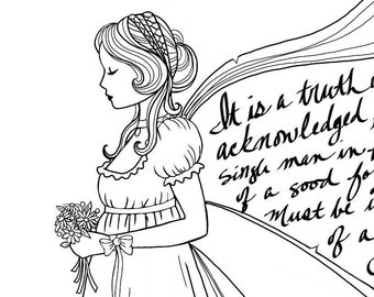 Printable digital adult coloring book page - Jane Austen literary fairy - black and white digital illustration to print and color - regency