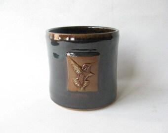 Utensil Holder with Hummingbird Design, Kitchen Caddy, Spoon Holder, Pottery Utensil Holder