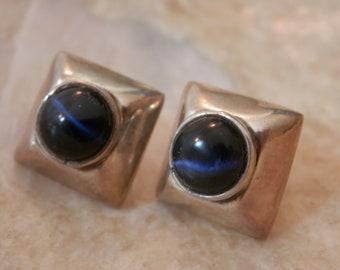 Mexican Silver Blue Tiger Eye Earrings Silver Stud Earrings Mexican Silver Earrings Blue Tiger Eye Stones