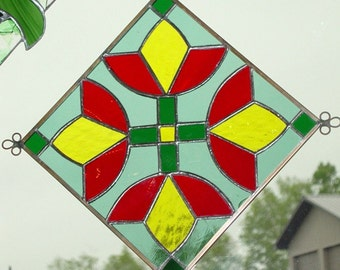 Quilt Square - Four Tulips Stained Glass