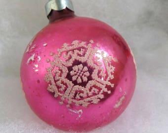Vintage Christmas ornament, pink glass ornament, snowflake ornament, mercury glass ornament, mica stencil ornament