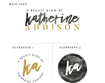 Gold Logo Design Beauty Blog Logo Black and White Logo Blog Logo Design Brush Font Logo Design