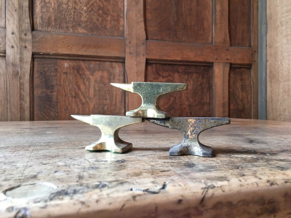 Set Of Three Small Vintage Anvils, Desk Top Anvils, Industrial Office Decor Paper Weight