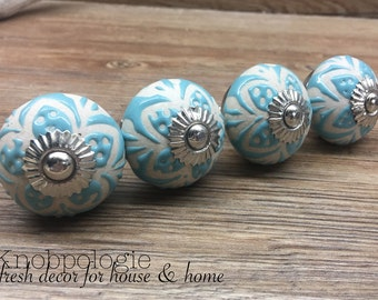 SET OF 4 - Aqua Blue Ceramic Knob with Natural Cream Etched Flowers - Light Blue Floral Drawer Pull Decorative Flower Knob - Cabinet