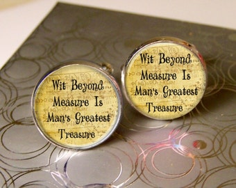 Mens Cufflinks, Wit Beyond Measure, Literary Cufflinks, Geekery