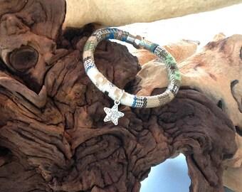 Boys ethnic khaki multicolored cotton woven cord sports bracelet