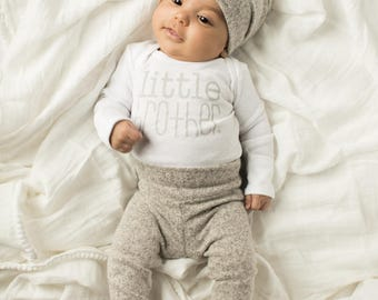 Cozy Granite Grey 3 piece little brother outfit   cute little brother   baby boy outfit   bringing home baby outfit   it's a boy   cute baby