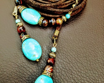 Beaded Wrap Necklace with Turquoise and Brown Agate Leather Wrap Choker Beaded with Turquoise on a Vegan Leather Headband Armband Gift