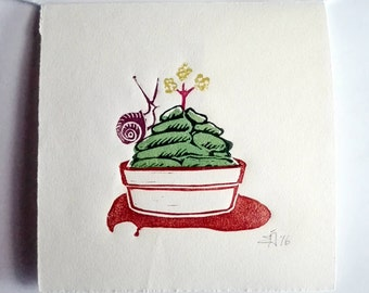 "Original Handmade Multi-color Linocut Print, 6,75"" x 6,75"" Small size art, Minimal art, hand-pulled print, cactus, snail, wall decor, gift"