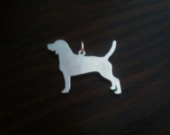 Beagle Full Body Silhouette Pendant, Sterling Silver