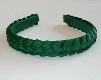 Forest Green Braided Headband - School Uniform Headband, Hunter Green Headband, Uniform Hair Bows, Uniform Headbands, School Plaid Headband