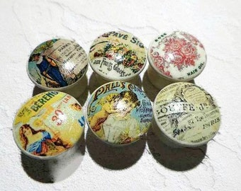 "Decoupage Knobs Featuring Antique Advertisements from Yesteryear. Available in 1.5, 1.25 or 1"". Buy Just 1, 2 or A Dozen, Only What You Need"