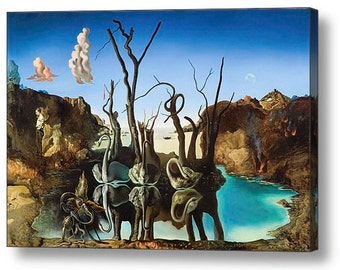 "Salvador Dali ""Swans Reflecting Elephants"" Repro Canvas Box Art A4, A3, A2, A1"