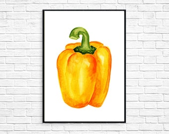 Yellow bell pepper  Watercolor Painting Artwork Print Poster