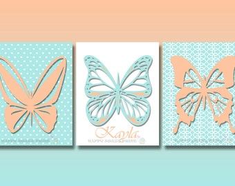 Butterfly wall prints, baby girl nursery wall canvas,pink-blue crib bedding, personalized butterfly nursery print,baby shower gift,147
