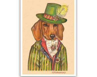 Dachshund Art Print - Dandy - Doxie Prints - Wiener Dog Art, Red Dachshund - Dogs in Clothes Art - Pet Kingdom by Maria Pishvanova