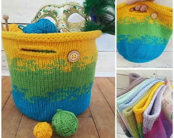 Knitting Project Bag - Medium Project Bag Tote - Knitting Bag - Crochet Bag - Storage Basket - Farm Style Basket - Mother's Day Gift for Her