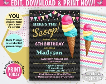 INSTANT DOWNLOAD / edit yourself now / Birthday Invitation / Ice cream / pink / gold / teal / chalkboard / girl invite / BDIC1
