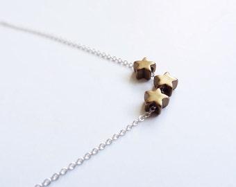 Vintage Stars Necklace - Wish Necklace - Star Necklace - Minimal Layering Necklace - Tiny Star Necklace - Everyday Jewelry - Vintage Stars