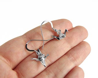 Origami Crane Earrings - Sterling Silver Bird Earrings