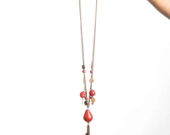 Red tagua necklace gift for women