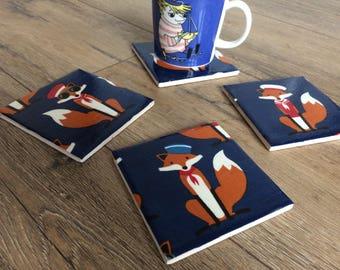 Fox coasters, fox print, fox gift, fox homeward, fox decor, nautical coasters, nautical print, nautical gift, new home gift, tile coasters