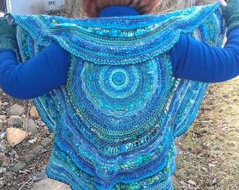 PATTERN Joyful Journey Shrug - circle weaving and knitting combined