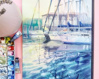Original watercolor seascape sail yachts marina painting. Limassol, fine art, sunset watercolour