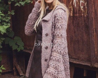 Crochet Pattern - Fluffy Coat/Jacket -  size Medium download PDF