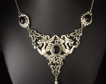Black onyx gothic griffin dragon necklace