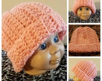 Newborn Baby Peach Hat--Ready to Ship--Crochet Stretchy Baby Hat