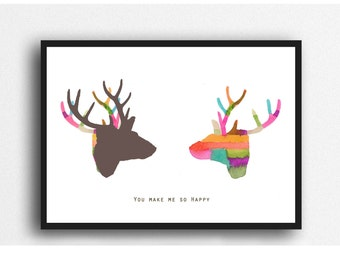 Valentines Day Gift for Her, Fun gift for Girlfriend, Deer Print, Colorful Wall Art, Wedding Gift, Love Gift Valentines Day Print