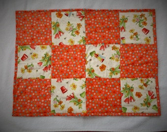 Handmade Quilted Patchwork Table Topper, Mini Wall Hanging, Centerpiece Mat, Coral and Green Gardening Theme