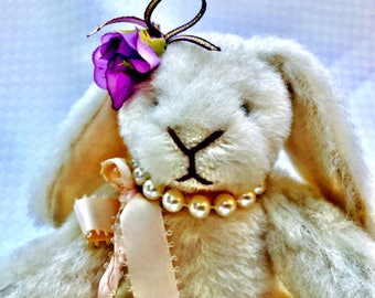 HEIDIBEARS Adorable Stuffed White Rabbit By Hillary Hulen
