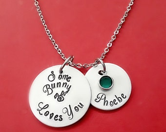 Easter Little Girls Bunny Necklace, Personalized Easter Jewelry, Hand Stamped Name Birthstone  Necklace, Some Bunny Loves You,