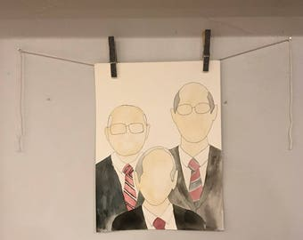 LDS First Presidency Watercolor Painting