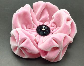 Large Pink Velvet Puffy Flower Applique