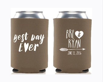Personalized Wedding Can Cooler  Best Day Ever  Rustic Wedding Favors  Custom Wedding Can Cooler  Engagement Party Favors - Fall Wedding