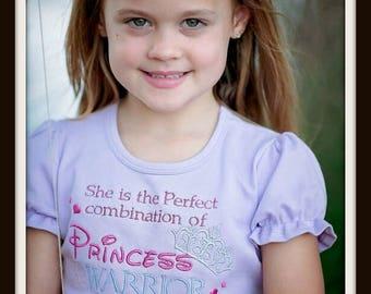 Princess Warrior Girls Shirt - Lavender Shirt