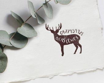 Customised Rubber Stamp with Deer Illustration     Custom Name Stamp     Wood Mounted Rubber Stamp     Multi-use stamp     Craft for Kids