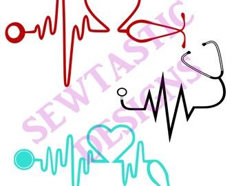 Stethoscope Hearbeat Cut File, Cricut, MTC, SCAL, Silhouette, ScanNCut, SVG