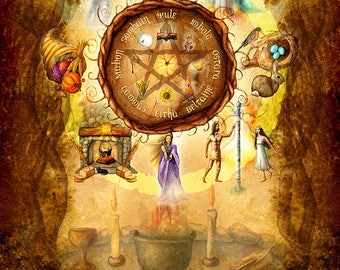 Wheel of the Year - Sabbats - Pagan Art - 11 x 14 inch archival print