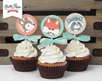 Woodland Cupcake Toppers // INSTANT DOWNLOAD // Favor Tags // Fox Birthday Decor // Mint & Coral // Digital Printable BP03