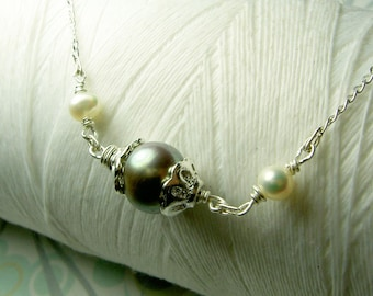 HALF PRICE - Ghostly Victorian - pewter pearl necklace / sideways necklace / pearl necklace / victorian necklace / pearl jewelry