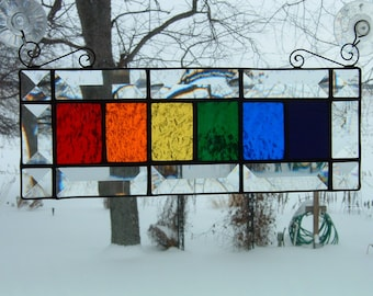 Stained Glass Horizontal Rainbow Sun Catcher