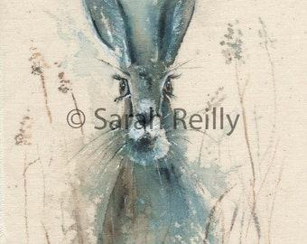 In the Wet Grass- Stunning, Vibrant Hare Watercolour Painting, A3 Print, Hare Decor. Beautiful watercolour on calico print poster artwork